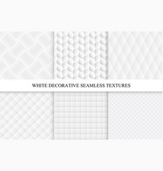 collection of seamless white decorative textures vector image