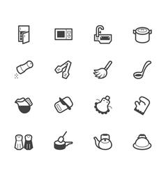 kitchen element black icon set on white background vector image