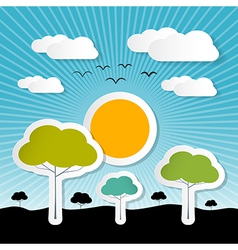 Paper Nature Background with Trees Clouds and Sun vector image vector image