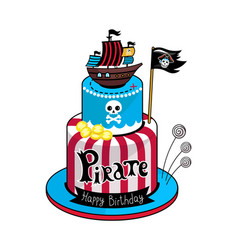 Pirate party cake icon vector
