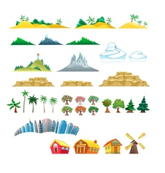 Set of trees mountains hills islands and buildings vector image vector image