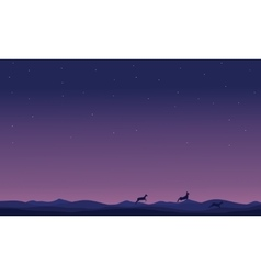 Silhouette of deer at night landscape vector image vector image