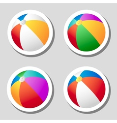 Beach ball stickers set vector image vector image