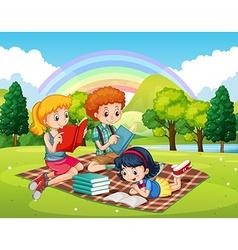 Children reading books in the park vector