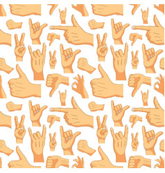 common cartoon hand signs on white seamless vector image