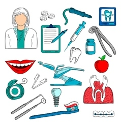 Female dentist with dentistry icons sketches vector image