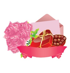 Gift and roses2 vector image vector image