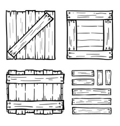 set of wooden box doodles vector image vector image