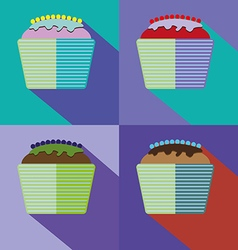 Sweets cards set with cream cakes vector image vector image
