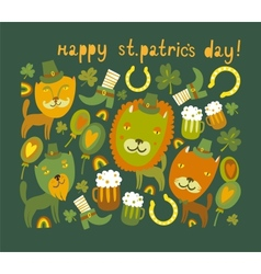 Cute StPatricks day background with cats vector image vector image