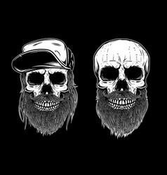 set of bearded skulls isolated on dark background vector image