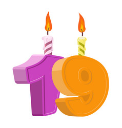19 years birthday number with festive candle for vector