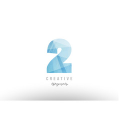 2 two blue polygonal number logo icon design vector image