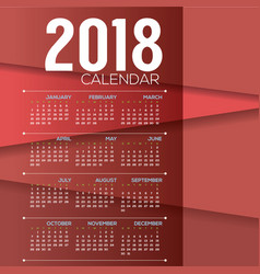 2018 red modern layer printable calendar vector