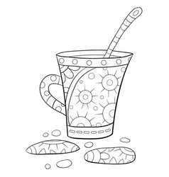 Adult coloring bookpage a christmas cup tea vector