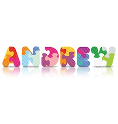 ANDREW written with alphabet puzzle vector
