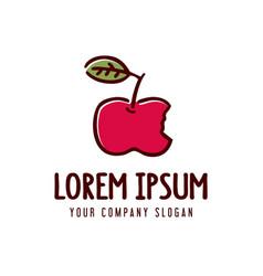 apple fruit logo hand drawn design concept vector image