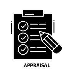 Appraisal icon black sign with editable vector