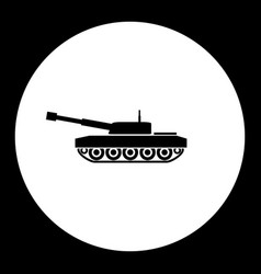 Armored army tank simple black icon eps10 vector