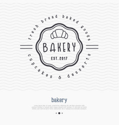 Bakery logo with thin line icon of croissant vector