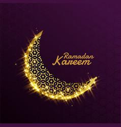 beautiful shiny sparkle golden decorative moon vector image
