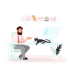 Black cat lies on a computer desk vector