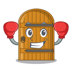 Boxing cartoon wooden door massive closed gate vector
