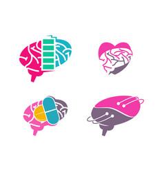 brain logo template think idea concept brainstorm vector image