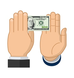 Businessman hand declines the offered bribe vector image