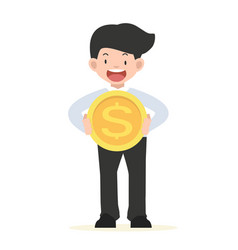 businessman holding a big coin concept vector image