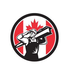 Canadian construction worker canada flag icon vector