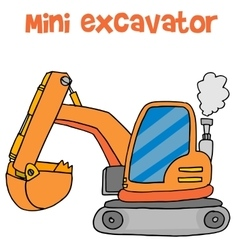 Cartoon mini excavator art vector