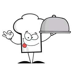 Chef Hat Guy Holding A Platter vector image