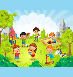 Children playing in the park vector image