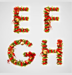 christmas font four letters efgh of christmas vector image