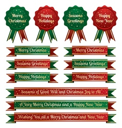 christmas ribbons and emblems vector image