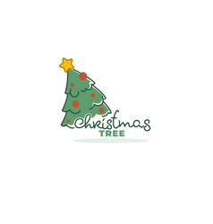 christmas tree market logo template with vector image