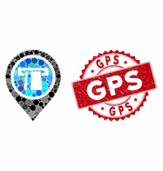 collage bank machine pointer with grunge gps stamp vector image