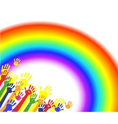 color hands palms with rainbow vector image
