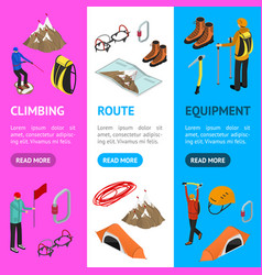Color mountaineering signs 3d banner vertical set vector