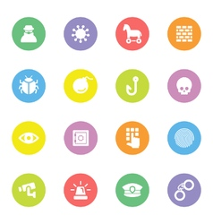 Colorful flat icon set 7 on circle vector