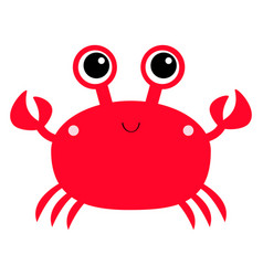crab toy icon big eyes claws cute cartoon kawaii vector image