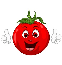 Cute Tomato Cartoon Character giving thumbs up vector image