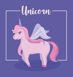 cute unicorn of fairy tale vector image