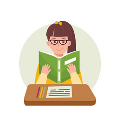 Cute woman reading a book2 educational concept vector