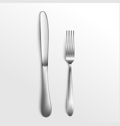 cutlery set silver fork and knife top view 3d vector image