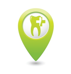 Dental clinic icon pointer green vector
