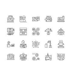 development line icons signs set outline vector image