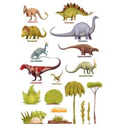 Dinosaurs and flora landscape elements vector