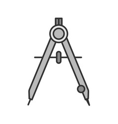 Drawing compass color icon vector